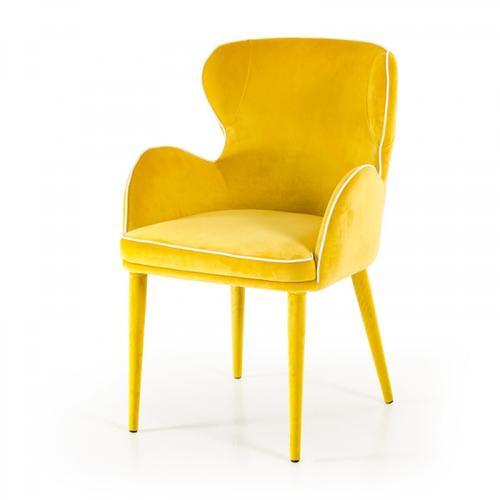 VIG Furniture - Modrest Tigard Modern Yellow Fabric Dining Chair