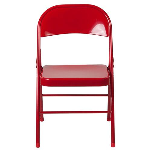 Double Braced Red Metal Folding Chair