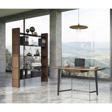 See Details - Modrest Glencoe - Modern Walnut & Black Glass Bookshelf