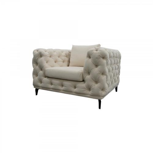Gallery - Divani Casa Werner - Modern White Velvet Accent Chair