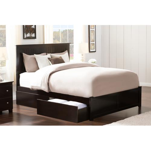 Nantucket Queen Flat Panel Foot Board with 2 Urban Bed Drawers Espresso