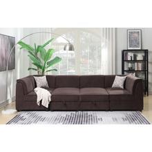 See Details - Charlotte Modular Armless Chair, Chocolate Brown
