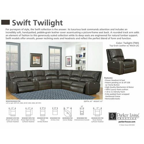 SWIFT - TWILIGHT Power Right Arm Facing Recliner