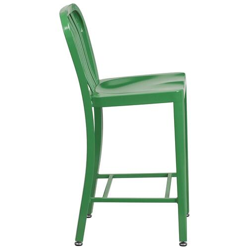 24'' High Green Metal Indoor-Outdoor Counter Height Stool with Vertical Slat Back