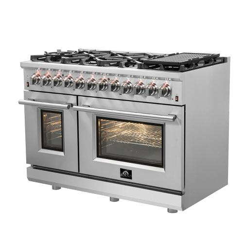 """Forno - Cossato - Platinum Professional 48"""" Freestanding Dual Fuel 240V Electric Oven and Gas Surface Range"""