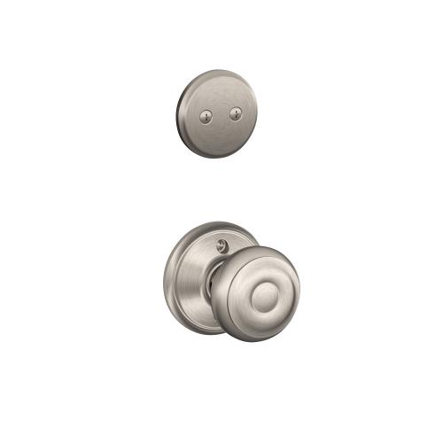 Plymouth In-active Handleset and Georgian Knob - Satin Nickel