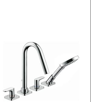 Chrome 4-hole tile mounted bath mixer with lever handles and escutcheons Product Image