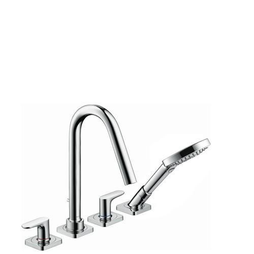 Polished Gold Optic 4-hole tile mounted bath mixer with lever handles and escutcheons