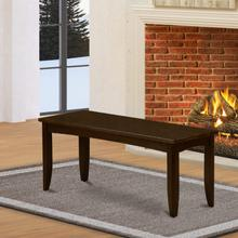 Parfait Dining Bench with Wood Seat in Cappuccino Finish.
