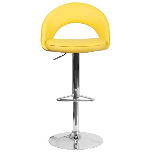 Alamont Furniture - Contemporary Yellow Vinyl Rounded Back Adjustable Height Barstool with Chrome Base