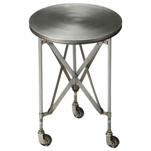Butler Specialty Company - Crafted from iron and perched on rolling casters; this platinum hued industrial chic accent table evokes the charm of a by-gone era. This table features a distinctive interlaced base linking legs and table top.