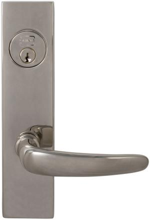 Exterior Modern Mortise Entrance Lever Lockset with Plates in (US14 Polished Nickel Plated, Lacquered) Product Image