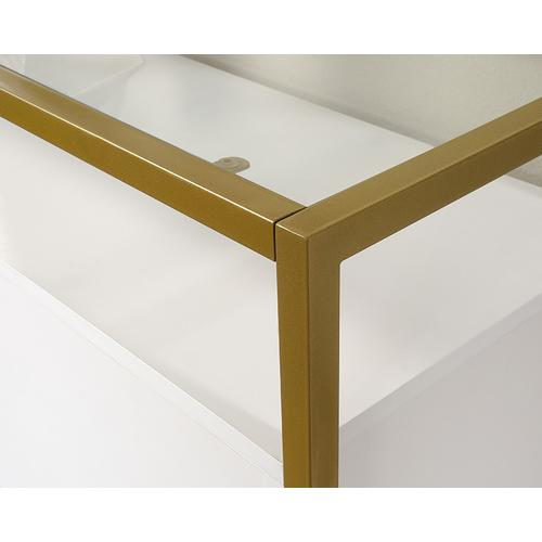 Sauder - Contemporary White Glass-Top Accent Table