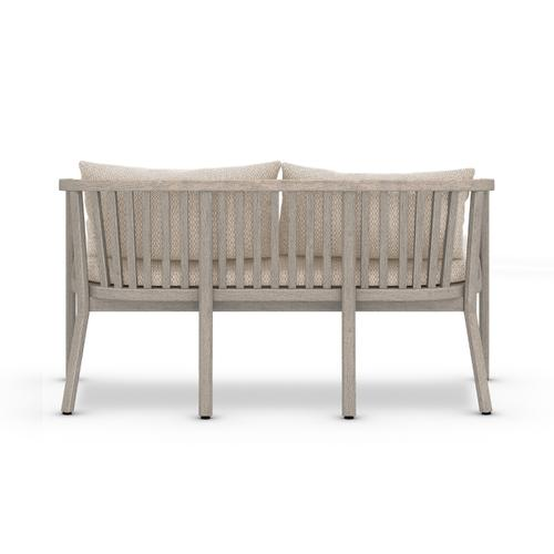 Faye Sand Cover Tate Outdoor Bench, Weathered Grey