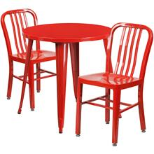 30'' Round Red Metal Indoor-Outdoor Table Set with 2 Vertical Slat Back Chairs