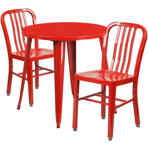 Alamont Furniture - 30'' Round Red Metal Indoor-Outdoor Table Set with 2 Vertical Slat Back Chairs