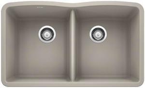 Diamond Equal Double Bowl - Concrete Gray Product Image