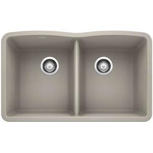 Diamond Equal Double Bowl - Concrete Gray