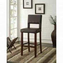 "ACME Reiko Bar Chair (1Pc) - 96612 - Black PU & Espresso - 30"" Seat Height"