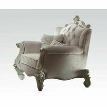 ACME Versailles Chair w/2 Pillows - 52107 - Ivory Velvet & Bone White