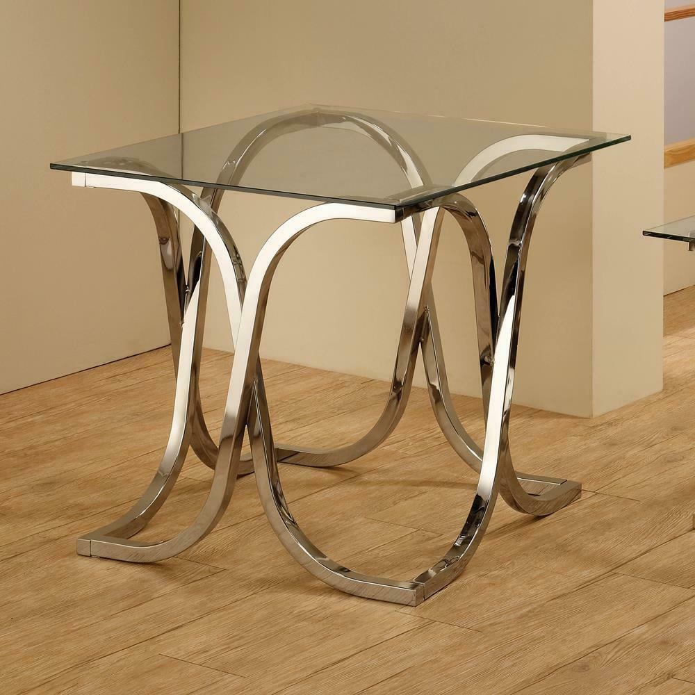 See Details - Contemporary Nickel End Table