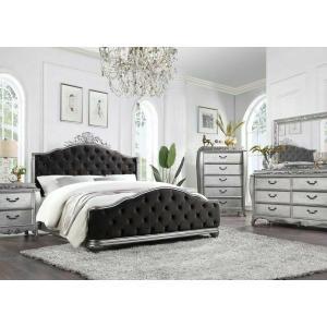 ACME Leonora Eastern King Bed - 22137EK - Glam - Fabric, Wood (Poplar), Wood Veneer (Ash), Poly-Resin, MDF - Fabric and Vintage Platinum