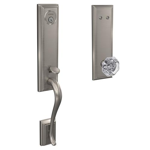 Custom Addison 3/4 Trim Inactive Handleset with Alexandria Glass Knob - Satin Nickel
