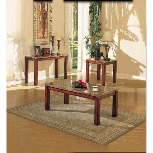 ACME Bologna Coffee Table - 07372B - Brown Marble & Brown Cherry