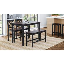 Asbury Park 4-pack Counter - Table With 2 Stools and Bench - Black /autumn