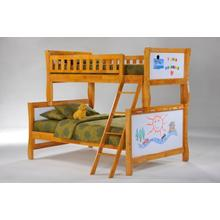 Scribbles Twin Full Bunk in Medium Oak Finish