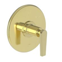 Uncoated Polished Brass - Living Balanced Pressure Shower Trim Plate with Handle. Less showerhead, arm and flange.