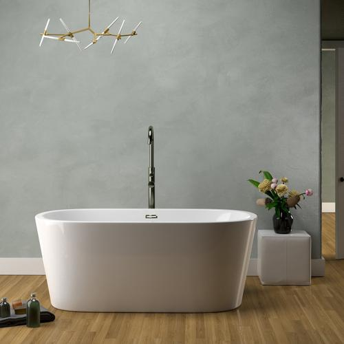 """Orlando 59"""" Acrylic Tub with Integral Drain and Overflow - Polished Nickel Drain and Overflow"""