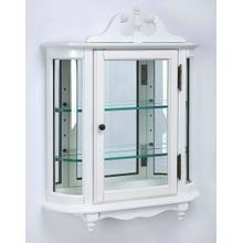 See Details - This destinctive wall curio is both functional and beautiful with two adjustable glass shelves and a mirored back to display your prized possessions. The curved glass sides make it very unique. The glass paneled door features antique brass finished hardwa
