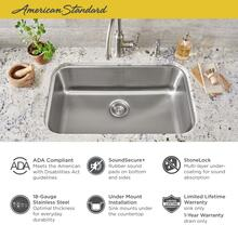 """See Details - Portsmouth 30x18"""" ADA Single Bowl Stainless Steel Kitchen Sink  American Standard - Stainless Steel"""