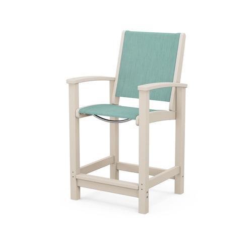 Polywood Furnishings - Coastal Counter Chair in Sand / Aquamarine Sling