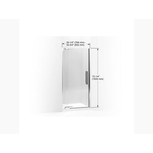 "Crystal Clear Glass With Bright Polished Silver Frame Pivot Shower Door, 72-1/4"" H X 30-1/4 - 32-3/4"" W, With 3/8"" Thick Crystal Clear Glass"