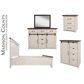 Madison County King Panel Bed - Vintage White