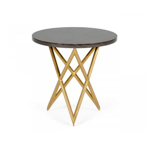 VIG Furniture - Modrest Novia - Glam Black and Gold Marble End Table