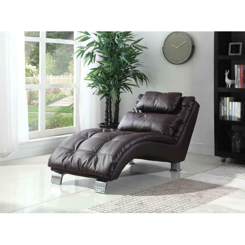 Coaster - Contemporary Brown Faux Leather Chaise