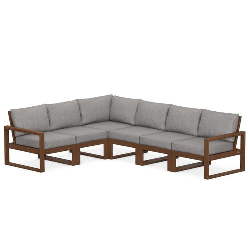 Polywood Furnishings - EDGE 6-Piece Modular Deep Seating Set in Teak / Grey Mist