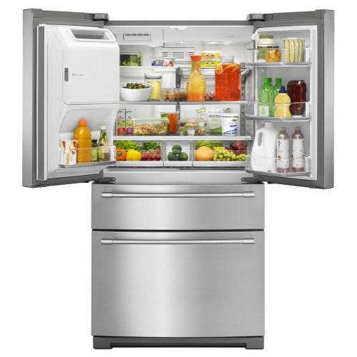 Gallery - 36-Inch Wide 4-Door French Door Refrigerator with Steel Shelves - 26 Cu. Ft.