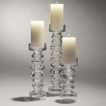 View Product - Glass Ribbed Candleholder/Vase-Sm