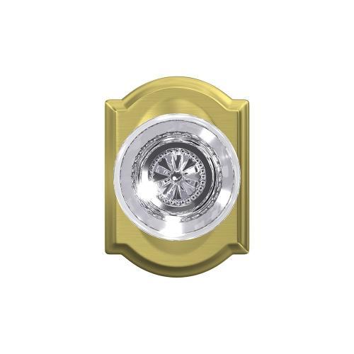 Custom Hobson Glass Knob with Camelot Trim Hall-Closet and Bed-Bath Lock - Satin Brass