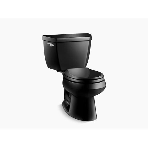 Kohler - Black Black Two-piece Round-front 1.28 Gpf Toilet With Tank Cover Locks