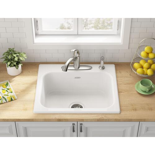 American Standard - Quince 25x22-inch Single Bowl Cast Iron Kitchen Sink - 4-Holes  American Standard - Brilliant White