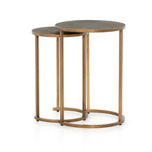 Antique Brass Finish Shagreen Nesting Table