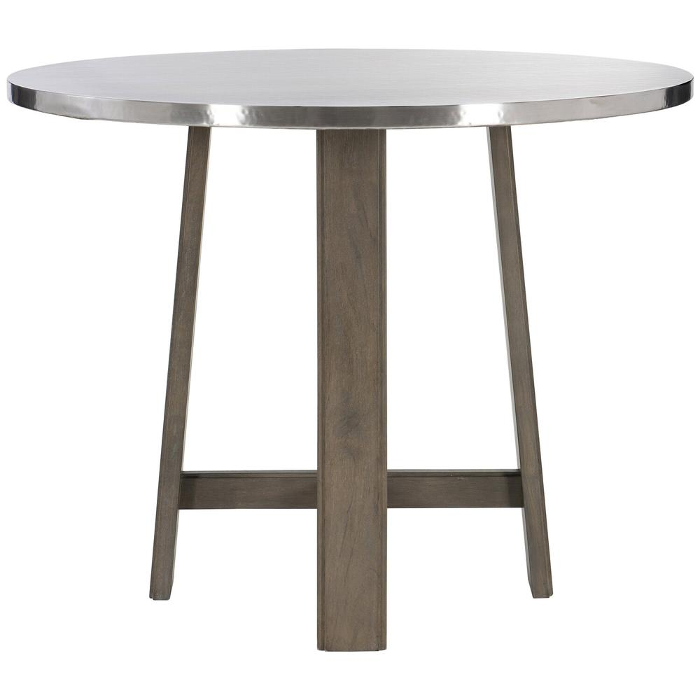 See Details - Harding Pub Table in Portobello Finishes Available Cocoa (CN1) Portobello (PN1) Smoke (SN1) Description Round table top wrapped in stainless steel Non-wire-brushed wood base with four legs and stretchers Adjustable glides Options Note: Optional glass top available, but recommeneded to prevent scratching of metal top. Order with 305-265G. To order in the available non-wire brushed finishes, specify the 3-digit finish number. Also available in wire brushed finishes - Glacier White, Midnight Black and Weathered Greige. See 305-265 & 305-776W . Specifications subject to change without notice. Due to differences in screen resolutions, the fabrics and finishes displayed may vary from the actual fabric and finish colors. ALL RELATED PRODUCTS