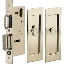 Pocket Door Lock with Modern Rectangular Trim featuring Turnpiece and Emergency Release in (US14 Polished Nickel Plated, Lacquered)