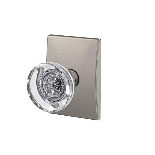 Custom Hobson Non-Turning Glass Knob with Century Trim - Satin Nickel