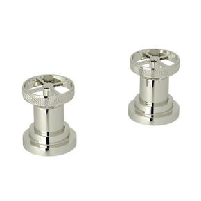 Campo Set of Hot and Cold 1/2 Inch Sidevalves - Polished Nickel with Industrial Metal Wheel Handle